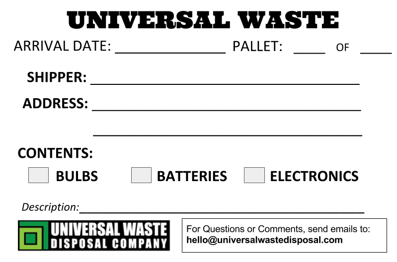 Universal Waste Labels Universal Waste Disposal Company